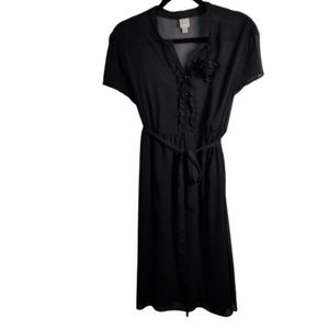 Marina Sheer Black Dress with Slip and  Ruffles